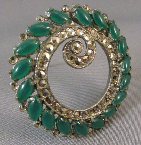 Vintage Marcasite & Green Glass Brooch Art Deco Pin