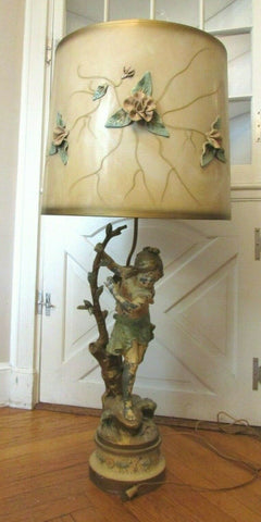 "Antique French Moreau Bronze Woman Lamp 43"" Tall UNIQUE Rare Lamp Shade"