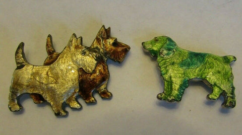 Vintage Enamel Dog Pin Brooch Lot 1930's Figural