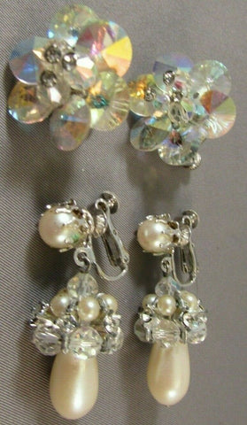 Vintage Crystal Pearl Vendome Earring Lot of TWO Drop Dangles Ravoli