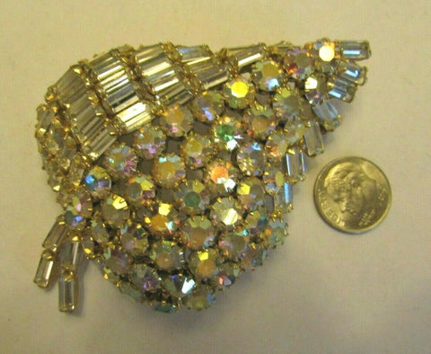 "Vintage AB Rhinestone & Clear Massive Brooch Pin 1"" High 3"" Figural MUST SEE"