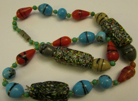 Antique Glass Trade Bead Necklace 1900's Estate Speckled Red Black Green Blue