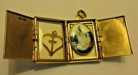 Vintage Coro Book Locket Necklace Pendant AS Found w/Religious Pendant inside