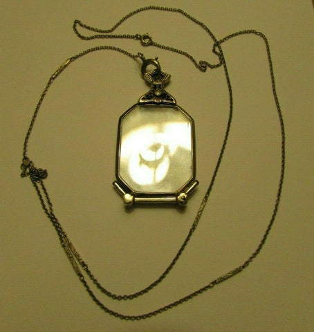 Antique Victorian 14k White Gold Opera Spec GASPARI Glasses Necklace Pendant