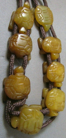 Vintage Hand Carved Agate Chinese Turtle Bracelet Figural or for Craft