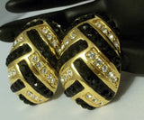 "VINTAGE RHINESTONE EARRINGS 2""  HAUTE COUTURE BLACK & CLEAR CRYSTALS"