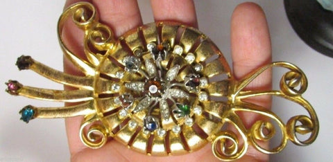 "Huge Vintage Rhinestone Brooch Silver Gold Rhodium Flower Spray 4"" Figural 1940s"