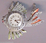 Vintage Rhinestone working Enamel Fish Lapel Brooch Watch Pin Figural 1940's