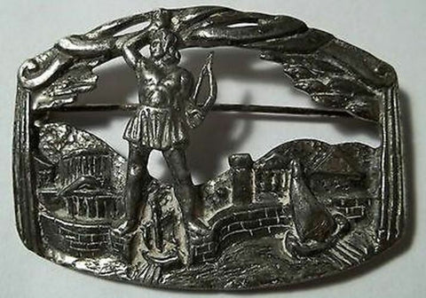 Vintage Coro Brooch Signed Colossus of Rhodes Greece Figural