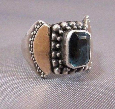 Vintage Sterling Silver !2k Yellow Gold Blue Topaz Ring