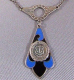 Art Nouveau Sterling Blue Enamel Necklace Providence RI College Etched