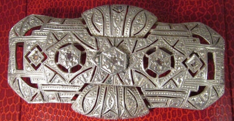 Vintage  Art Deco Genuine 5 Paste DIAMOND Sterling Silver Brooch Pin Large