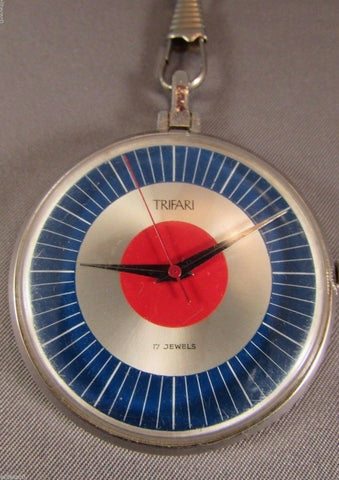 Vintage Trifari Watch Necklace Pendant or Pocket Watch RARE WORKING MODERNIST