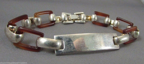 Art Deco Silver Tone & Faux Tortoise Lucite Link Bracelet Really unique