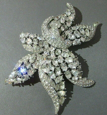 "Vintage Trifari Clear Rhinestone HUGE 3.5"" Flower Brooch Figural Philippe"
