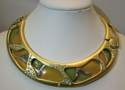Vintage Monet MODernist Necklace Crystal Enamel Collar