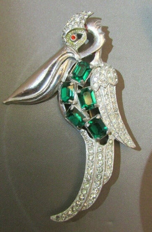 "Vintage Art Deco Pelican Bird Clear Emerald Rhinestone Brooch Pin Figural 3""+"