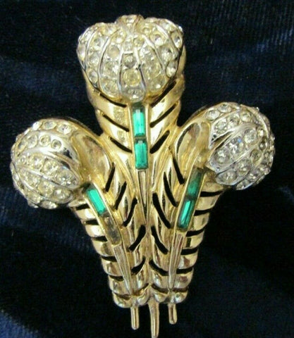 "Vintage Coro Emerald & Clear Rhinestone Brooch Pin ""Prince of Wales Plume"""