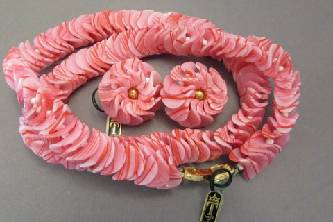 Vintage Crown Trifari Pink White Swirl Necklace Earring Set 1950's Lucite Flower