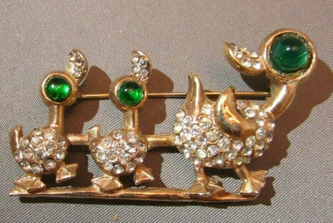 Vintage Rhinestone Trio of Ducks Bird Brooch Figural Pin