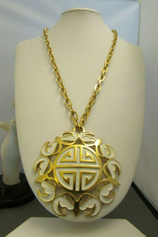 Vintage Trifari Enamel White Ming Necklace