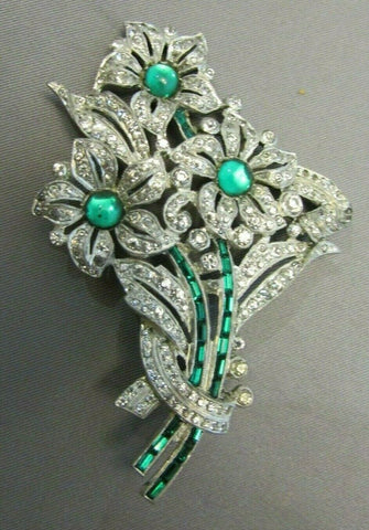 Vintage Clear Paste Emerald Rhinestone Flower Brooch Figural Art deco