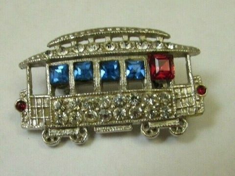 Vintage 1940 Rhinestone Trolley Figural Brooch Pin Rhodium Plated Transport