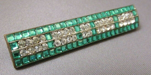 Art Deco Clear & Emerald Channel Set Glass Rhinestone Brooch Pin Bar Vintage