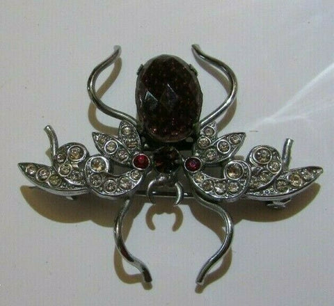 Vintage Rhinestone & Glass Bug Insect Brooch Pin Figural 1940's