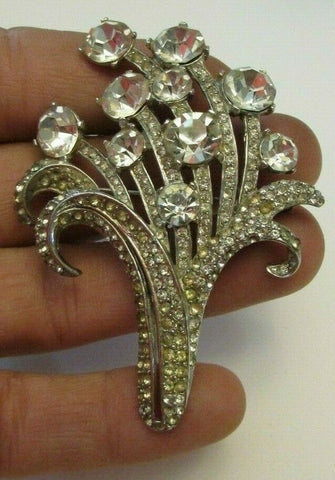 Amazing Vintage Clear Rhinestone Flower Spray Brooch Pin Figural