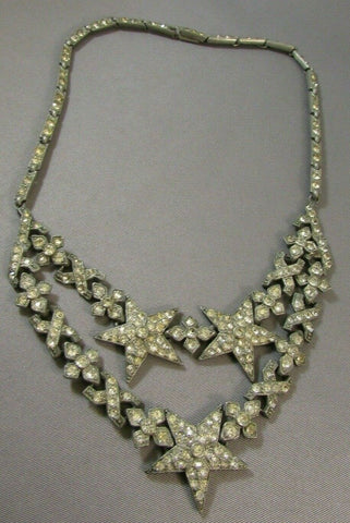 Vintage Art Deco Paste Clear Rhinestone Necklace Stars 1930's RARE