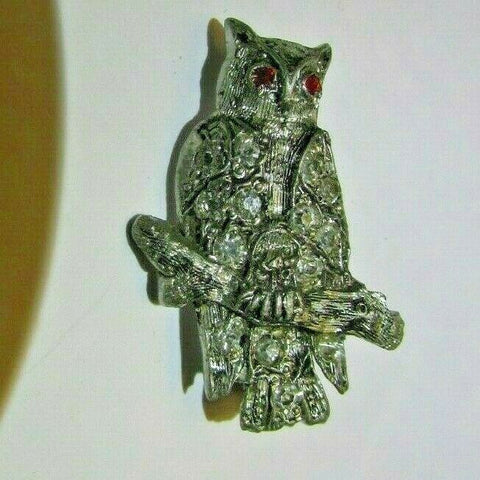 Vintage Art Deco Paste Rhinestone Owl Brooch Pin Rhodium Plated Figural Bird