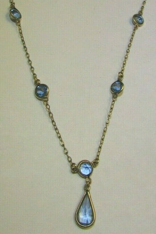 Art Deco Delicate Blue Periwinkle Glass Necklace Beautiful Handmade Bezel Set