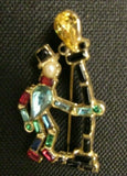Vintage Rhinestone Figural Man Leaning on Lamp Post  Brooch Pin