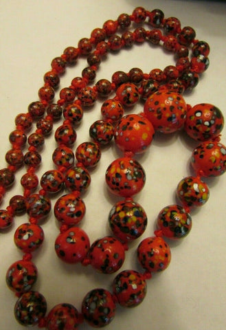 "Vintage Long 28"" Red Speckled Glass Necklace Bead Strand"