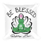 Be Blessed Buddha Froggy • RobbyZEN - Square Pillow (WHITE)