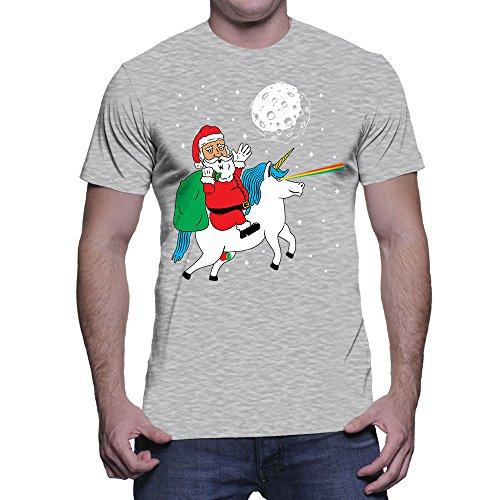 Santa Riding Unicorn Xmas T-Shirt - creative watcher