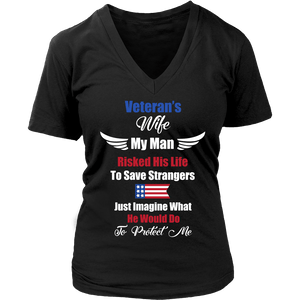 Veterans Wife My Husband Fought To Save Strangers Military Army Navy Air Force T Shirt - creative watcher