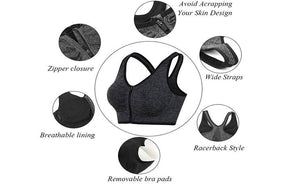 Front Zipper Push Up Sports Bra with removable pads - creative watcher