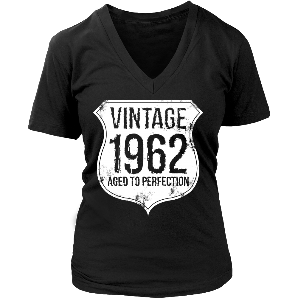 Aged To Perfection Vintage 1962 Sassy Grandma V Neck T Shirt Tee - creative watcher