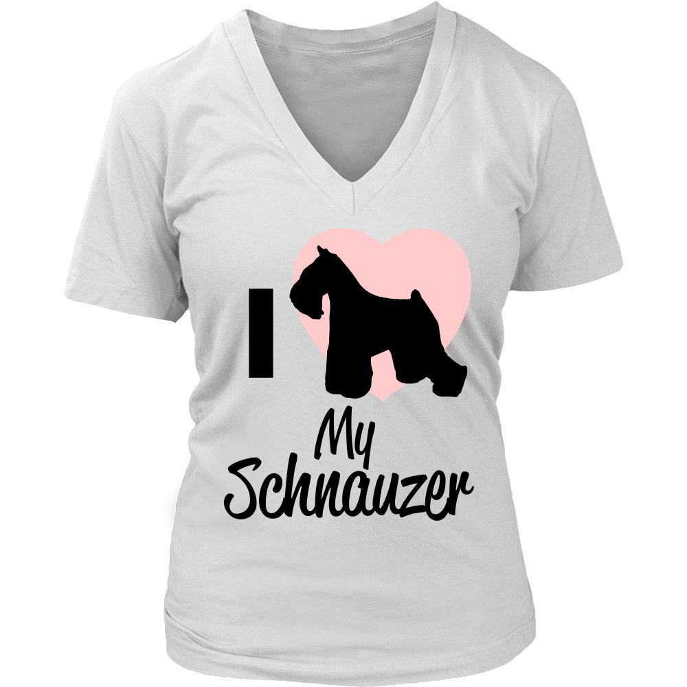 Women I Love My Schnauzer Dog Lover V Neck T Shirt - creative watcher