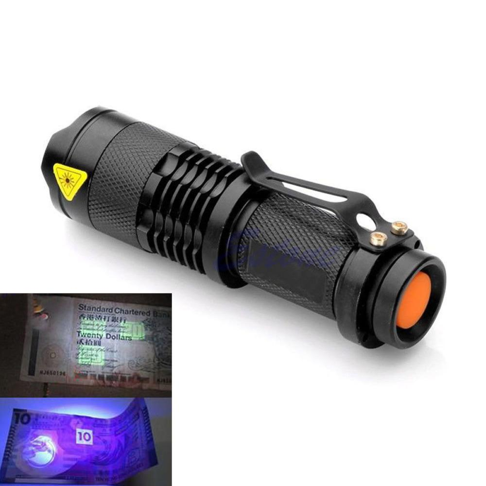 Zoomable LED UV Flashlight SK68 Violet Light 1200LM Adjustable Focus 3 Modes Light Lamp Used By AA Or 14500 Battery - creative watcher