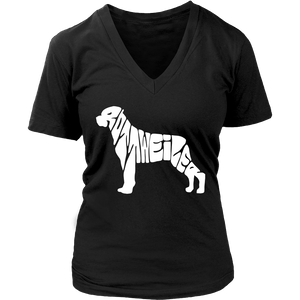 Rottweiler Print Words Women Dog Lover V Neck T Shirt - creative watcher
