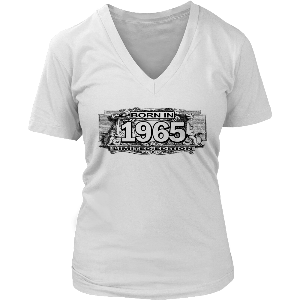 Born In 1965 Women Limited Edition V Neck T Shirt Tee - creative watcher
