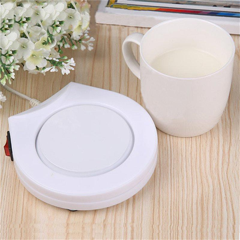 White Electric Powered Drink Cup Warmer Pad - creative watcher