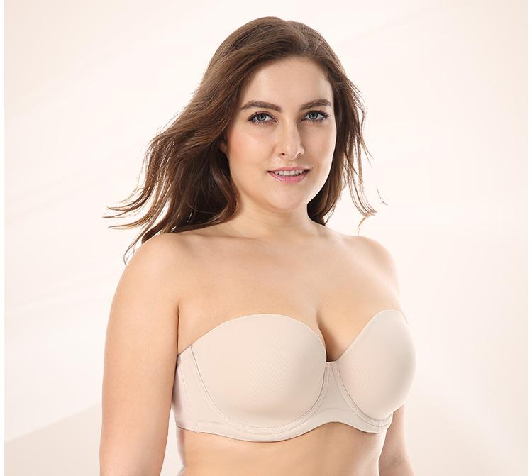 Underwire Contour Strapless Plus Size Bra - creative watcher