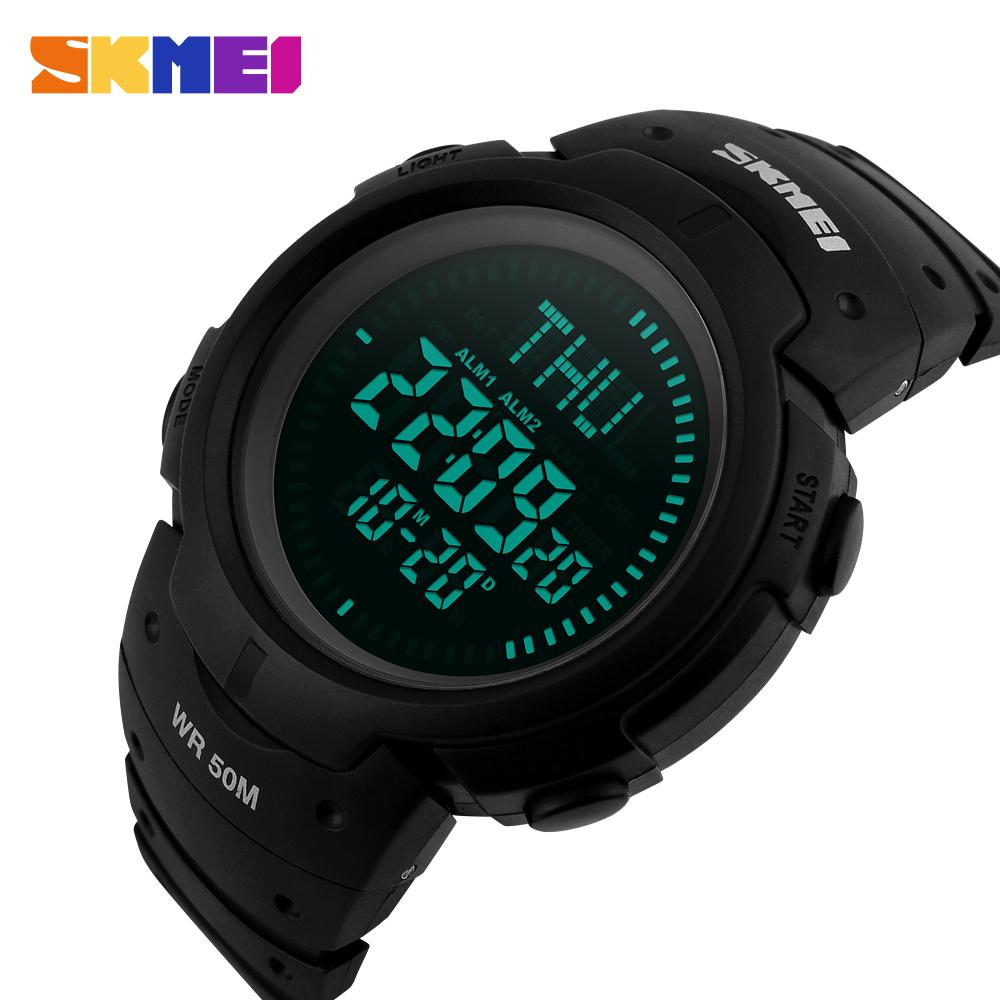 2017 SKMEI Brand Compass Watches 5ATM Water Proof Digital Outdoor Sports Watch Men's Watch EL Backlight Countdown Wrist Watches - creative watcher