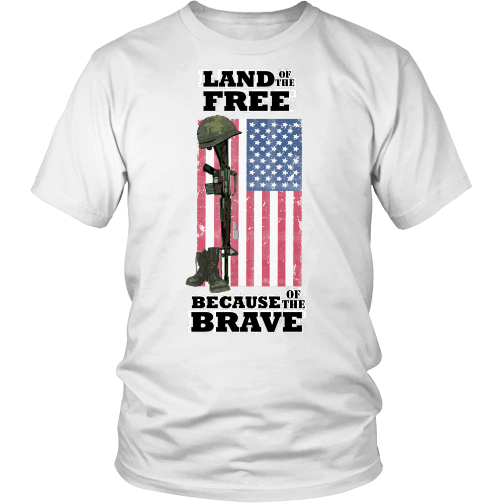 Land Of The Free Because Of The Brave Military Veterans Army Navy Air Force T shirt - creative watcher