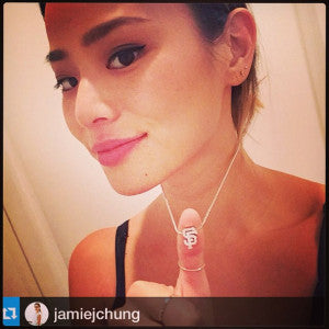 Jamie Chung wears our Little MLB San Francisco Giants!