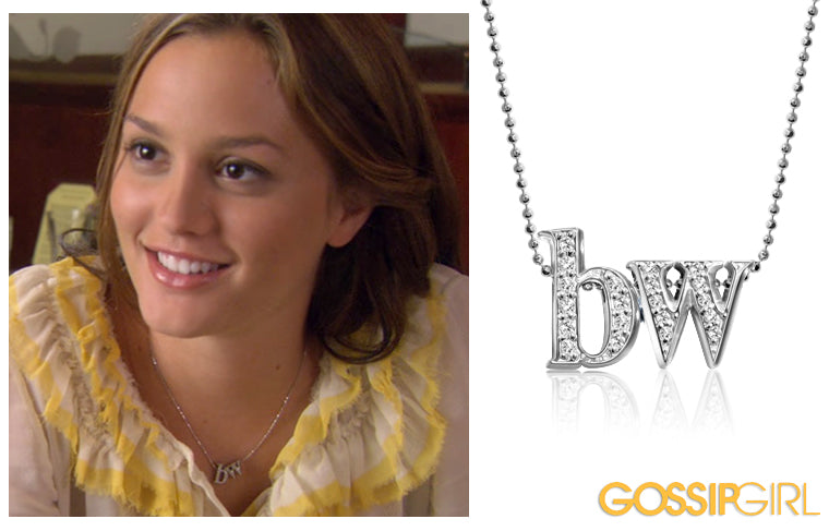 Gossip Girl Actress Leighton Meester wearing Alex Woo Custom Double Little Letters for Blair Waldorf